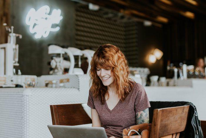 Happy woman working